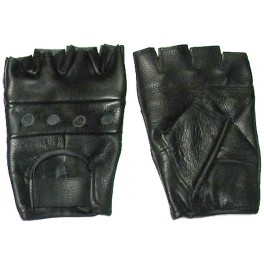 Black Genuine Leather Motorcycle Gloves For Men