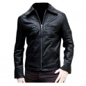 Designer Black leather men's jacket