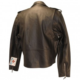 Classic Black Genuine Leather Motorcycle Jacket No Lace