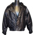 Double Breasted Black Leather Jacket