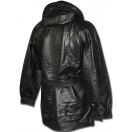 Men's Black 3/4 Coat with Belt leather