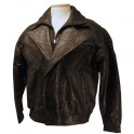 Mens Double Breasted Stylish Patch Leather Jacket with Zips