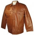Mens Leather Jacket with Chest Pockets in Black or Cognac