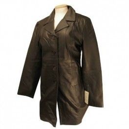 Womens 3/4 Long Slim Fit Black Leather Blazer