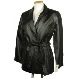 Womens Black Long Cut Leather Jacket