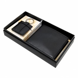 Leather wallet and keychain in Gift Box