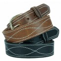 Design stitched men's leather belt