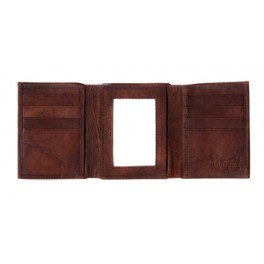Trifold Leather Wallet with Center ID Window
