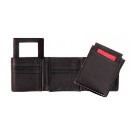 Trifold Leather Wallet with Removable ID Window