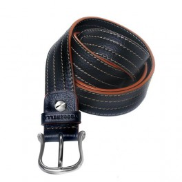 Italian leather belt with stitching.