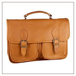 Flap over Leather Briefcase. Executive Leather Case