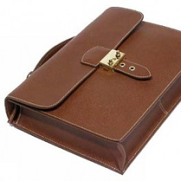 Leather flapover document case- Premium