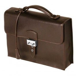 Leather flapover men's briefcase.- Premium