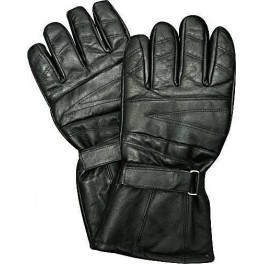 Men's Black Genuine Leather Long Motorcycle Gloves