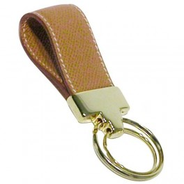 Firm grain embossed leather key ring