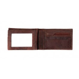 Bifold Leather Wallet with Side ID & Inside Zip