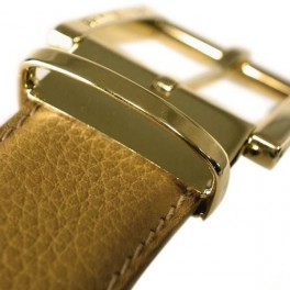Soft embossed leather belt with gold buckle