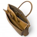 Leather Business Tote with external pocket