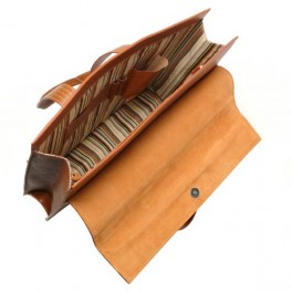 Leather Portfolio with top handle -Multi Use leather bag